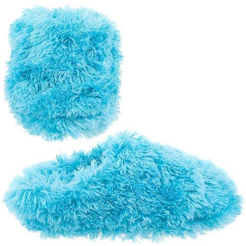 Cheap Aqua Fuzzy Slippers for Women (B007TAPFK4)