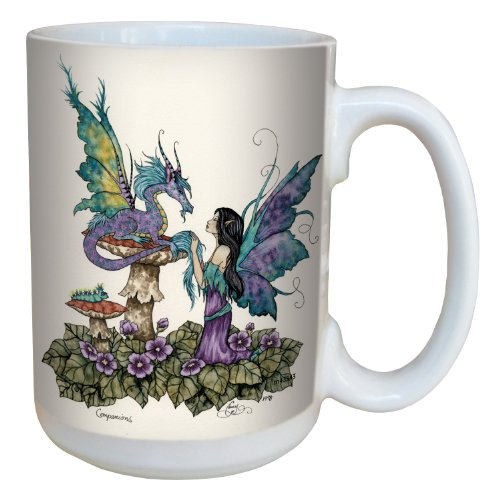 Tree-Free Greetings lm43543 Fantasy Companions Dragon and Fairy Ceramic Mug with Full Sized Handle by Amy Brown, 15-Ounce