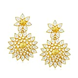 Artisan Crafted Yellow Gold Plated with Sterling Silver Dangle Earrings having Diamond Polki and Kundan look (Flower top with Flower drop, white)