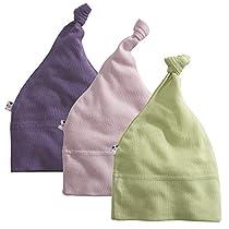 Babysoy Janey Baby 3-piece Hat Set, Girls (Meadow, Peony, Wineberry) 6-12M