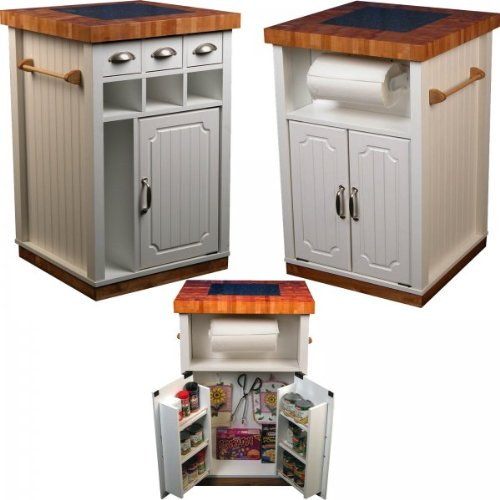 "Granite Top Kitchen Cart - Double Sided Cabinets a (White) (35""H x 24""W x 24""D)"