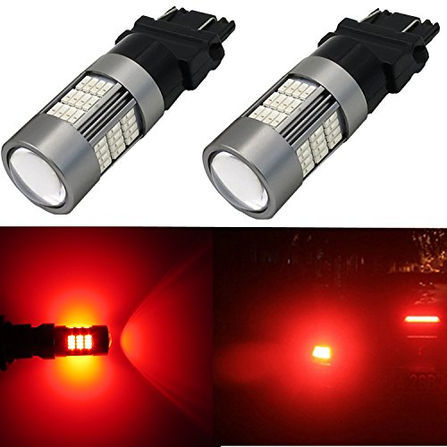 Alla Lighting 54-SMD 3157 3156 T25 Newest Version High Power 4014 Chipsets Pure Red Xtremely Super Bright Turn Signal Blinker Light LED Bulbs Replacement (Hummer H3 3rd Brake Light compare prices)