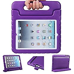 iPad Mini Case - Animov Kids Light Weight Kido Series Multi Function Convertible Handle Kickstand Kids Friendly Protective Shockproof Cover with Stand & Handle for Apple iPad Mini - Purple