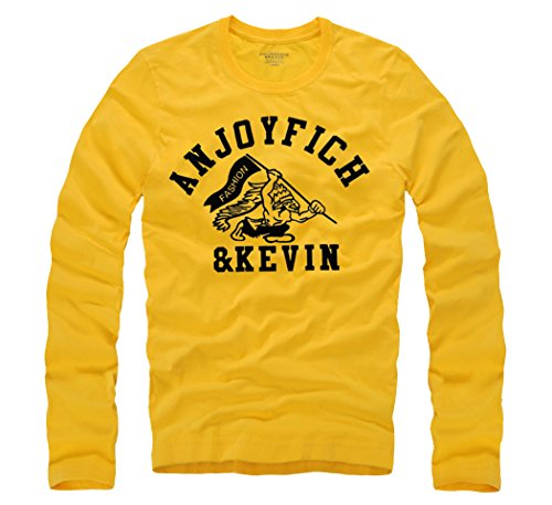 T&Mates Mens Christmas Casual Cotton Embroidered Crew Neck Long Sleeve T-Shirts (Yellow Size S)