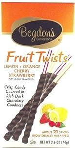 Bogdon's Fruit Twists Lemon Orange Cherry Strawberry Gourmet Stir Sticks Crisp Candy Covered in Chocolate 21 Sticks (1 Box)