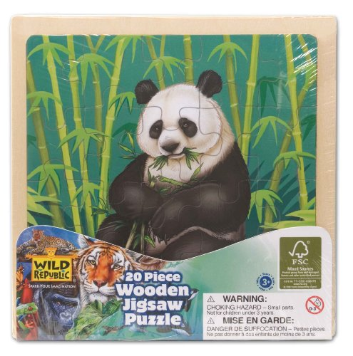 Imagen principal de Wild Republic FSC-88021  - Puzzle de madera, madera FSC Mezclado, 20 partes, motivo panda