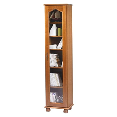 Beaux muebles no caros-Biblioteca 1 puerta de cristal, roble