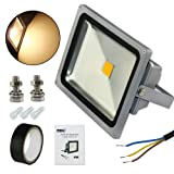 Esco-Lite Safety 30W Warm White LED Floodlight Kits Waterproof IP66 (With 2 Screws+ Electrical Tape +3 AC wire caps) for Home Garden Project DIY