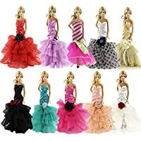 Lot 15 Items= 5 Pcs Fashion Evening Dress Clothes+10 Pairs Shoes For Barbie Doll