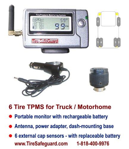 6 Tire RV/Truck Cap Sensor Tire Pressure Monitoring System (TPMS)