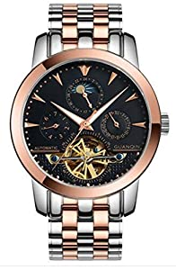 Fanmis Men Luminous Automatic Mechanical Stainless Steel Watches Calendar Moon Phase Rose Gold Black