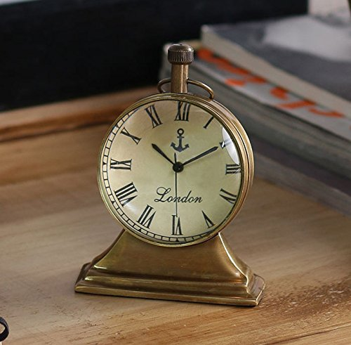 Style Antique Retro Vintage-Inspired Brass Metal Craft Table Clock Home Decor - 2.5 Inch
