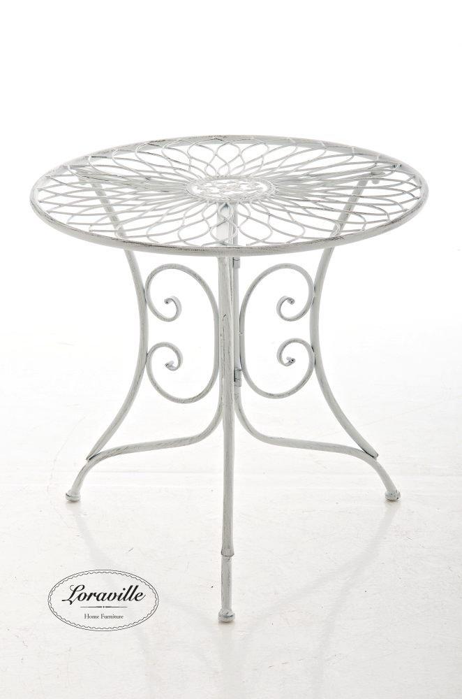 CLP graziler Eisentisch ARIANO in nostalgischem Design, Durchmesser Ø 54,5 cm (aus bis zu 2 Farben wählen) antik weiß