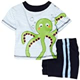 Babyworks Baby-boys Newborn Stripe Short Set, Navy, 3-6 Months