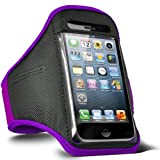 Direct-2-Your-Door - Apple Iphone 4S Sports Armband Strap Pouch Case Cover - Purple