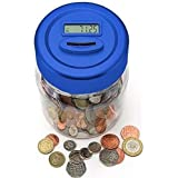 CHANCERY DIGITAL COIN COUNTER JAR MONEY SAVING BOX COUNTERS COUNTS COINS LCD DISPLAY BLUE