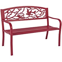 Best Choice Products Steel Patio Garden Park Bench (Rose Red)