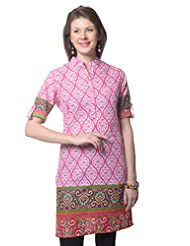 Meira Full Sleeve Chinese Collar White Cotton Kurti For Women - B00Q126M44