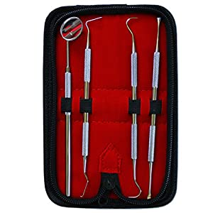 KOVIRA Dentist Hygiene Kit-4 pc Tools for Deep Teeth Cleaning-Plaque Remover, Tooth Scraper,Dental Mirror & Scalers