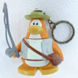 Key Chain - Clip On - SPECIAL - Club Penguin FISHERMAN 2 Vinyl Mini Figure - Also GREAT Christmas Ornament - Cake Topper - Mix and Match Body Sections - Highly Collectible and Hard to Find