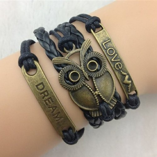 Nicerocker Fashion Brown Infinity Retro Owl Angel