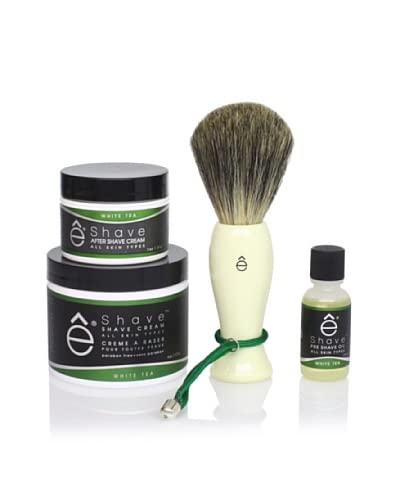 eShave Essential 4-Piece Set in White Tea Scent, White As You See