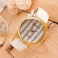 AccessoryStation? White Fashinable Women Lady Geneva PU Leather Band Stripe Wrist Watch