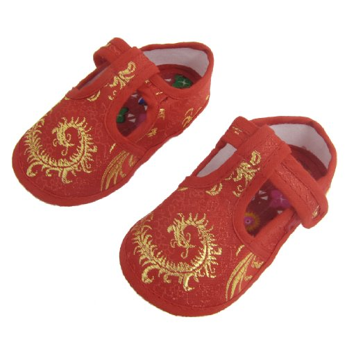 Pair Embroidery Phoenix Flower Pattern Red Baby