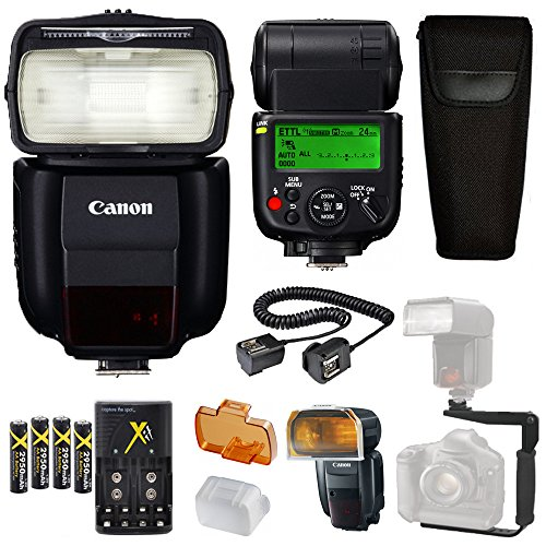Canon-Speedlite-430EX-III-RT-Flash-Canon-Speedlite-Case-4-High-Capacity-AA-Rechargeable-Batteries-and-charger-Flash-L-Bracket-TTL-Cord