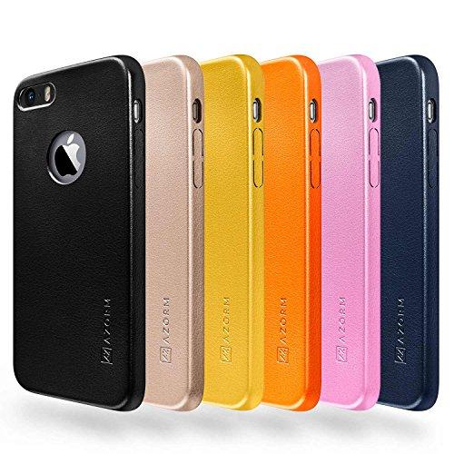funda-iphone-se-5s-5-azorm-classic-edition-negro-fina-aspecto-de-cuero-premium-interior-de-microfibr