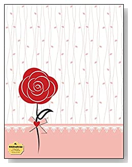 Red Rose On Pink Notebook - A single red rose and a pink trim against a simple background creates a beautiful cover for this college ruled notebook.