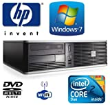 Windows 7 - HP dc7800 Small Form Factor (SFF) Wi-Fi enabled Desktop PC - Powerful Intel Core 2 Duo E6550 2.33GHz v-Pro Processor - 160GB Hard Drive - 2GB Memory (RAM) - DVD MultiPlayer - Genuine Windows 7 License (COA)