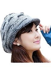 Leegoal Women Girls Winter Warm Slouchy Cut Openings Fluffy Knit Beanie Crochet Rib Hat Brim Cap