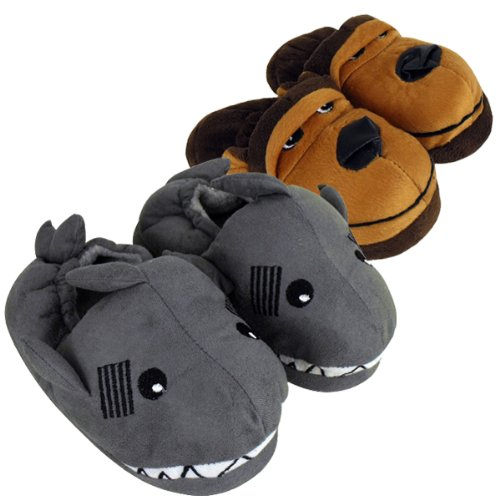 Boys Childrens Animal Novelty Ankle Boot Slipper Kids Bootie Slippers Size 9-3