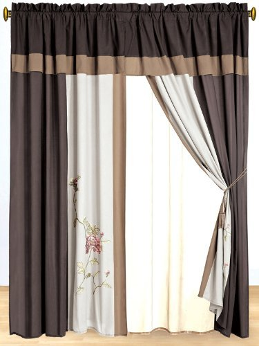 3 Layer Modern Faux Silk Embroidered Chocolate Brown