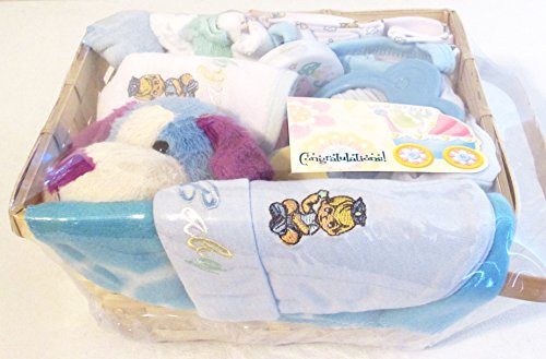 Cute Baby Gift Basket 10 Piece (blue)