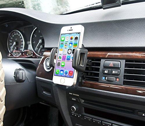IBRA - Soporte Móvil Coche para Rejillas del Aire de Coche Sostenedor Universal 360 grados para iphone 6 / 6s / 6 plus / 6s plus / ipad / Sony / Samsung etc ( Negro )