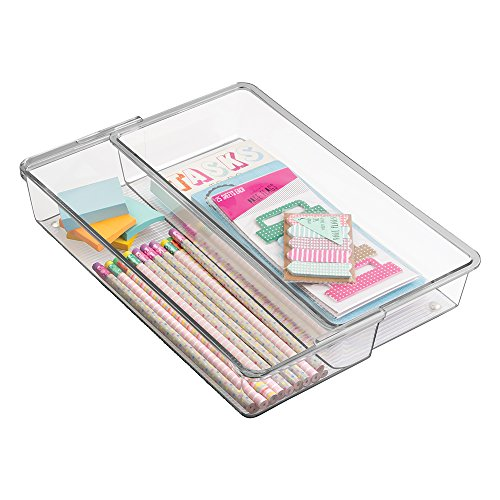 mDesign Expandable Desk Drawer Organizer for Office Supplies, Pencils, Pens, Scissors, Tape - 12