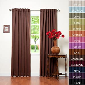 Solid Thermal Insulated Blackout Curtains, Chocolate
