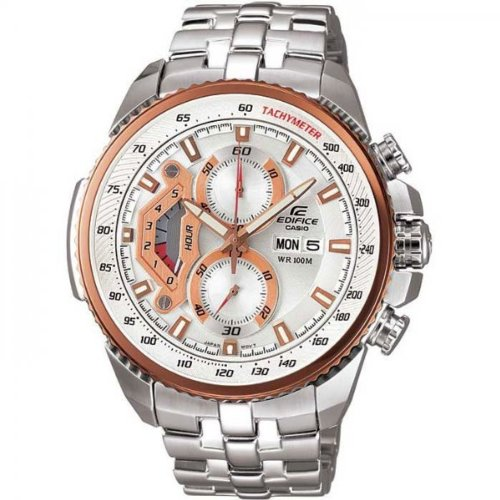 Edifice Men's Quartz Watch with Silver Dial Analogue Display and Silver Stainless Steel Bracelet EF-558D-7AVEF