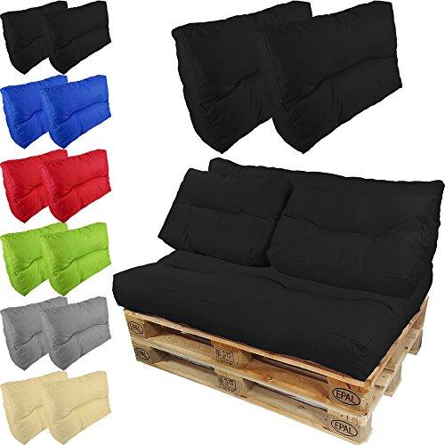 proheim paletten kissen lounge 2 kurze r ckenkissen 60 x 40 cm in schwarz paletten auflage. Black Bedroom Furniture Sets. Home Design Ideas