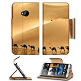 Deserts Camels Road Walking Shadows HTC One M7 Flip Cover Case with Card Holder Customized Made to Order Support Ready Premium Deluxe Pu Leather 5 11/16 inch (145mm) x 2 15/16 inch (75mm) x 9/16 inch (14mm) MSD HTC One Professional Cases Accessories Open Camera Headphone Port Graphic Covers Designed 1 Model Folio Sleeve HD Template Designed Wallpaper Photo Jacket Wifi Luxury Protector Wireless Cellphone Cell Phone