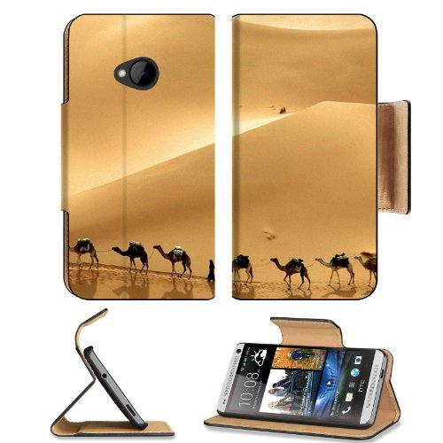 Deserts Camels Road Walking Shadows Htc One M7 Flip Cover Case With Card Holder Customized Made To Order Support Ready Premium Deluxe Pu Leather 5 11/16 Inch (145Mm) X 2 15/16 Inch (75Mm) X 9/16 Inch (14Mm) Msd Htc One Professional Cases Accessories Open