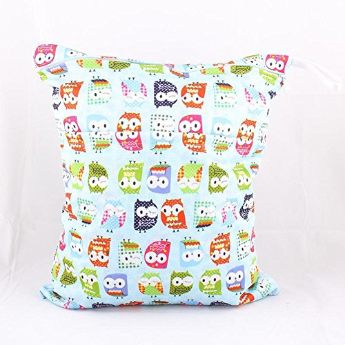 iBaste Portable Baby Cloth Diaper Bag Print Patterns Elephant Birds Monkey Waterproof Soft Storage Bag Zippered Wet Dry Bags - 1