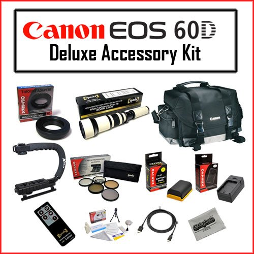 Deluxe Accessory Bundle for Canon Featuring Canon 200DG Digital Camera Gadget Bag – Black, Opteka 650-1300mm High Definition Telephoto Zoom Lens, Opteka X-GRIP Professional Camera / Camcorder Action Stabilizing Handle, Opteka 67mm High Definition² Professional 5 Piece Filter Kit and More!