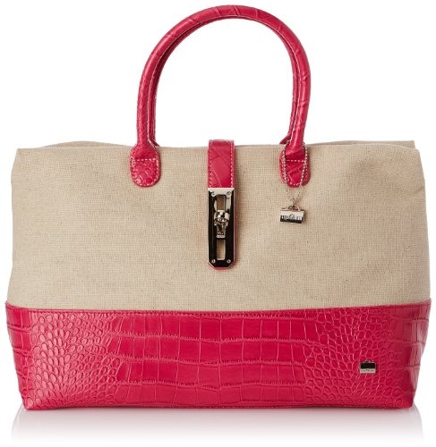 La Bagagerie Women's Shop Ncol Top-Handle Bag Beige Beige (Beige/Fuschia) Taille Unique