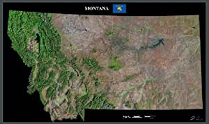 "Montana from space satellite map / print poster / picture: 40"" x 24"" glossy"