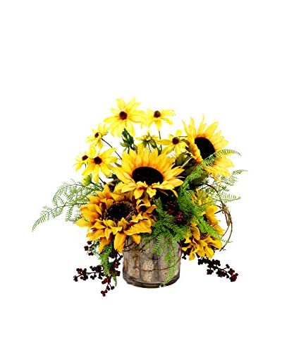Creative Displays Mixed Sunflower & Black Eyed Susan in Birch Pot, Yellow/Burgundy/Brown