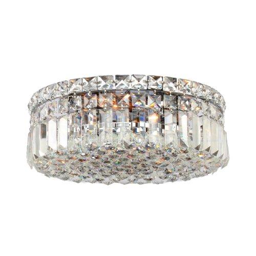 Worldwide Lighting W33506C14 Cascade 4 Light With Clear Crystal Ceiling Light, Chrome Finish