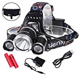5000Lumen LED Headlamp Siensync(TM) 3x CREE XM-L XML T6 Super Bright Waterproof 4 Modes Headlight Flashlight Torch for Outdoor Riding Night Fishing Hiking Camping